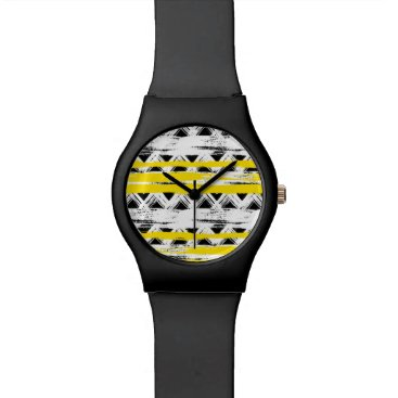 Aztec Themed Cool Black White Yellow Stripes Tribal Pattern Watch