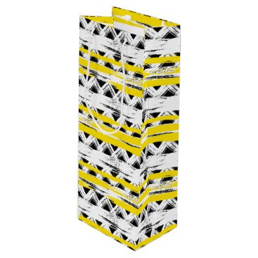 Aztec Themed Cool Black White Yellow Stripes Tribal Pattern Wine Gift Bag