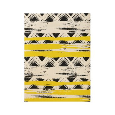 Aztec Themed Cool Black White Yellow Stripes Tribal Pattern Wood Poster