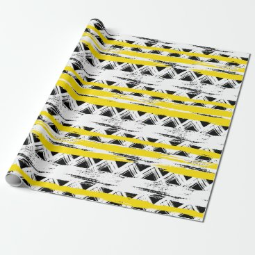 Aztec Themed Cool Black White Yellow Stripes Tribal Pattern Wrapping Paper