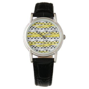 Aztec Themed Cool Black White Yellow Stripes Tribal Pattern Wrist Watch