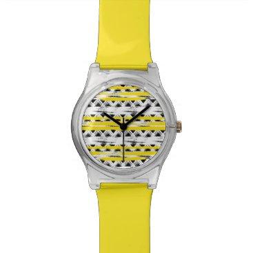 Aztec Themed Cool Black White Yellow Stripes Tribal Pattern Wristwatch