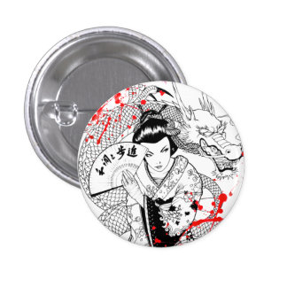 Cool blood splatter geisha with fan dragon tattoo pinback button