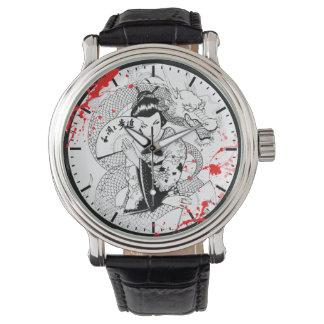 Cool blood splatter geisha with fan dragon tattoo wrist watch