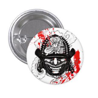 Cool blood splatter samurai demon mask helm tattoo 1 inch round button