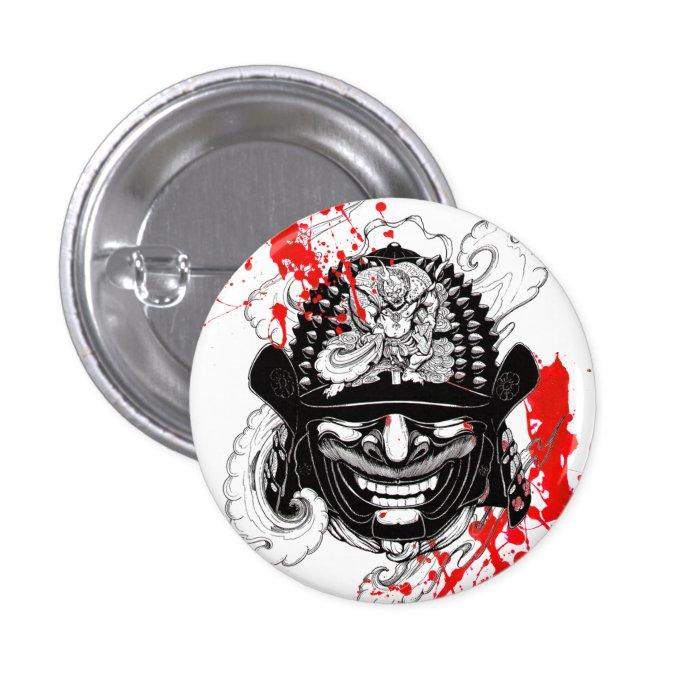 cool blood splatter samurai demon mask helm tattoo button. Black Bedroom Furniture Sets. Home Design Ideas
