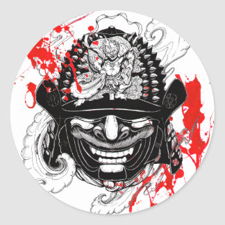 Cool blood splatter samurai demon mask helm tattoo classic round sticker