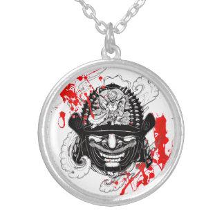 Cool blood splatter samurai demon mask helm tattoo silver plated necklace