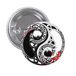 Cool blood splatter Yin Yang Dragons tattoo art Button