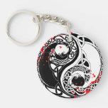 Cool blood splatter Yin Yang Dragons tattoo art Double-Sided Round Acrylic Keychain