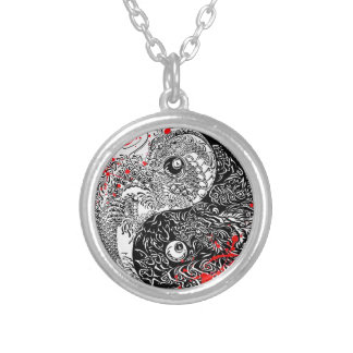 Cool blood splatter Yin Yang Dragons tattoo art Silver Plated Necklace