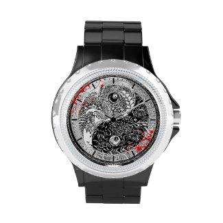 Cool blood splatter Yin Yang Dragons tattoo art Wristwatch