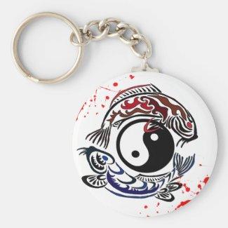 Cool blood splatter Yin Yang Koi Fishes tattoo art Keychain