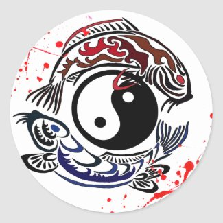 Cool blood splatter Yin Yang Koi Fishes tattoo art Round Sticker
