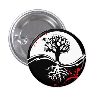 Cool blood splatter Yin Yang Tree tattoo art Pinback Button