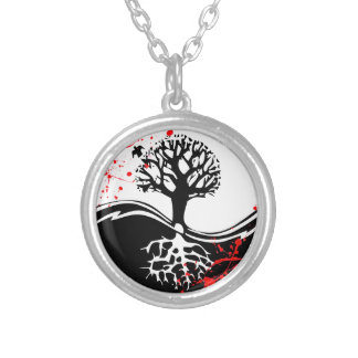 Cool blood splatter Yin Yang Tree tattoo art Silver Plated Necklace