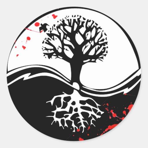 Cool blood splatter yin yang tree tattoo art classic round sticker zazzle - Tatouage ying yang ...