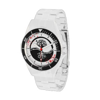 Cool blood splatter Yin Yang Tree tattoo art Wrist Watches