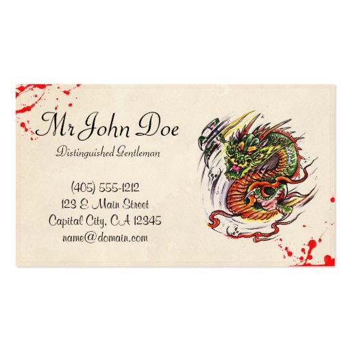 Cool blood tattoo symbol oriental dragon vintage business for Business card size tattoos