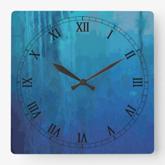 Cool Blue Abstract Dripping Paint Grunge Design Square Wall Clock