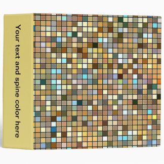 Cool Blue And Earth Tones Square Tiles Pattern Binders