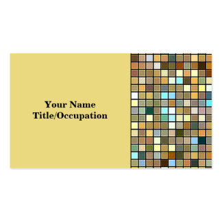 Cool Blue And Earth Tones Square Tiles Pattern Business Card