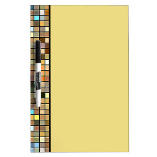 Cool Blue And Earth Tones Square Tiles Pattern Dry-Erase Whiteboard