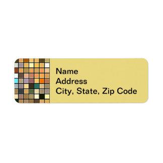 Cool Blue And Earth Tones Square Tiles Pattern Custom Return Address Label
