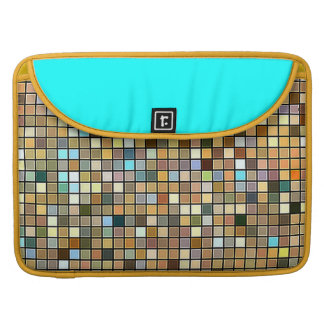 Cool Blue And Earth Tones Square Tiles Pattern Sleeve For MacBooks