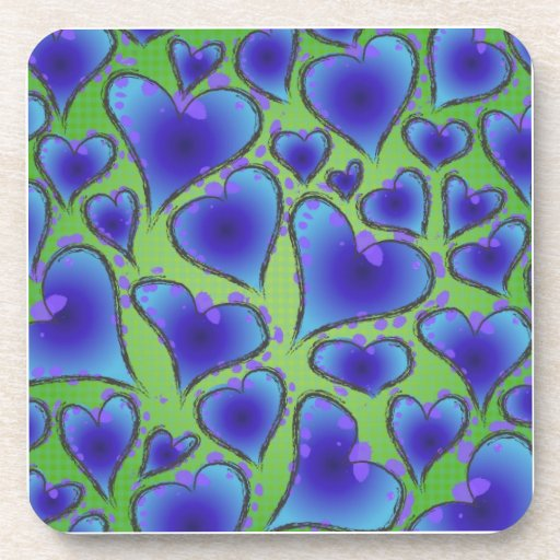 Cool Blue and Green Artsy Hearts Coasters