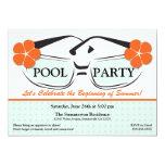 "Cool Blue and Orange Summer Sunglasses Invitation 5"" X 7"" Invitation Card"