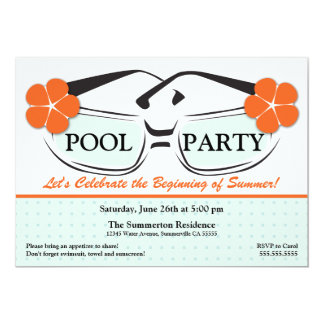 Cool Blue and Orange Summer Sunglasses Invitation