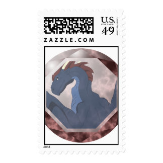 Cool Blue And Red Dragon Gem Postage Stamps
