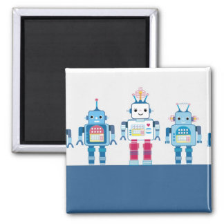 Cool Blue and Red Robots Novelty Gifts 2 Inch Square Magnet