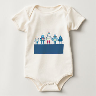 Cool Blue and Red Robots Novelty Gifts Baby Bodysuit