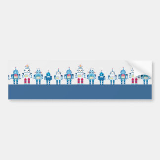 Cool Blue and Red Robots Novelty Gifts Bumper Sticker