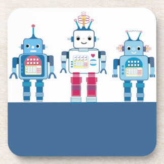 Cool Blue and Red Robots Novelty Gifts Coaster