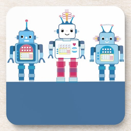 Cool Blue and Red Robots Novelty Gifts Drink Coaster