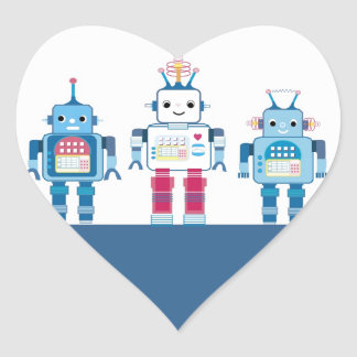 Cool Blue and Red Robots Novelty Gifts Heart Sticker