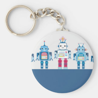 Cool Blue and Red Robots Novelty Gifts Keychain