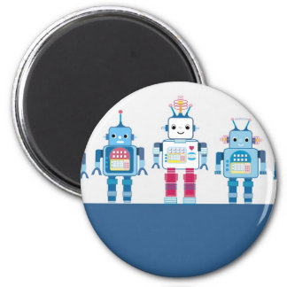 Cool Blue and Red Robots Novelty Gifts Magnet