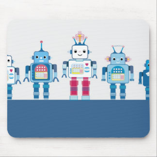 Cool Blue and Red Robots Novelty Gifts Mouse Pad