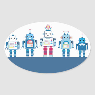Cool Blue and Red Robots Novelty Gifts Oval Sticker