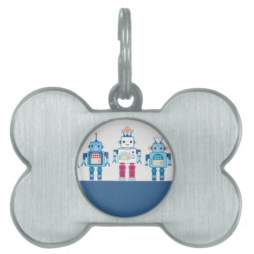 Cool Blue and Red Robots Novelty Gifts Pet Name Tag