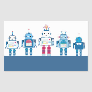 Cool Blue and Red Robots Novelty Gifts Rectangular Sticker
