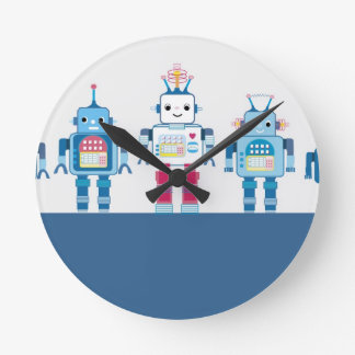 Cool Blue and Red Robots Novelty Gifts Round Clock