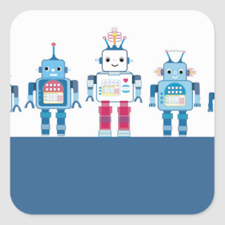 Cool Blue and Red Robots Novelty Gifts Square Sticker