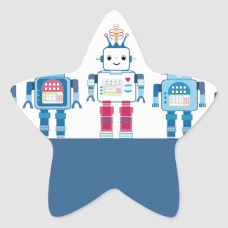 Cool Blue and Red Robots Novelty Gifts Star Sticker