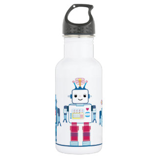 Cool Blue and Red Robots Novelty Water Bottle