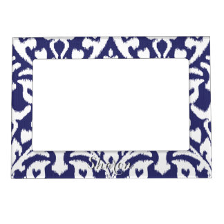 Cool blue and white ikat tribal pattern photo frame magnet